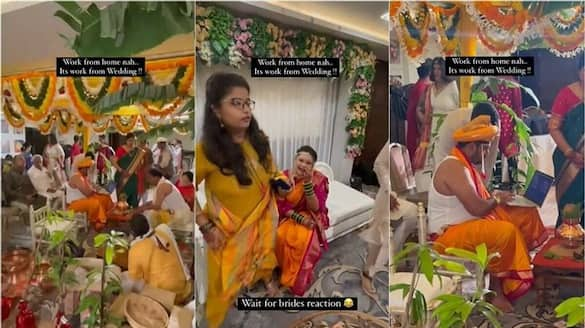 Work from wedding :  Video of groom with laptop at mandap goes viral - bsb