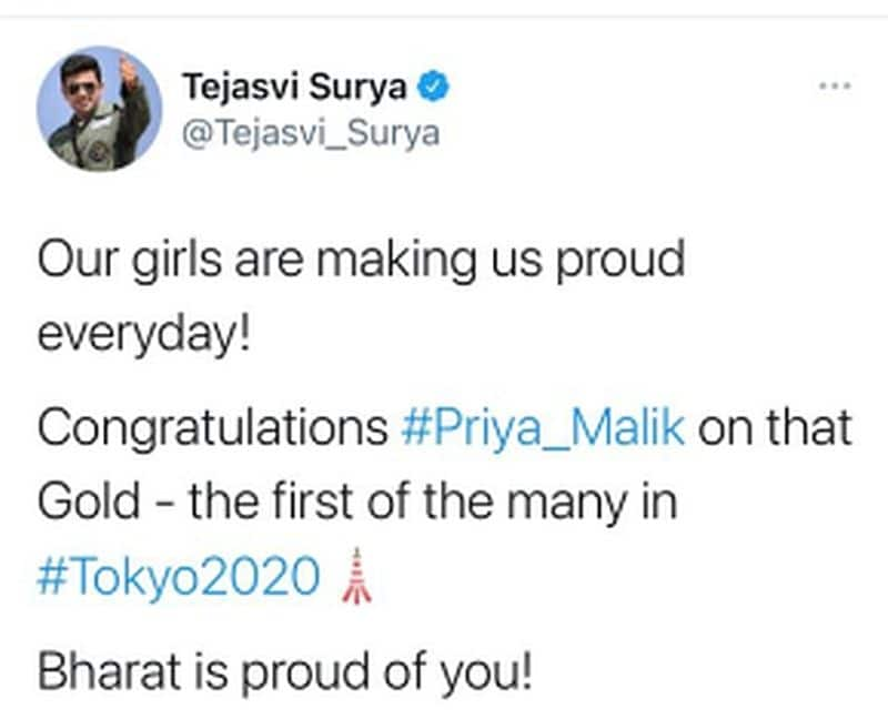 Oops Politicians celebrate Priya Malik's medal as Tokyo Olympics gold It was not