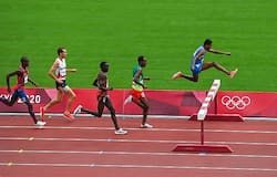 <p>Avinash Mukund Sable of India leads the field during the men's 3000 metres steeplechase heat 2 at the Olympic Stadium during the 2020 Tokyo Summer Olympic Games in Tokyo, Japan. Photograph: Brendan Moran/Sportsfile via Getty Images</p>