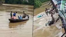Screenshots show the boat losing control in the strong currents of the Shilabati river