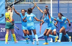 Monika, Navjot Kaur, Rani and Neha Neha of Team India celebrate the second goal scored while Jane-Anne Claxton of Team Australia walks away during the Women's Quarterfinal match between Australia and India on day ten of the Tokyo 2020 Olympic Games at Oi Hockey Stadium in Tokyo, Japan. Photograph: Alexander Hassenstein/Getty Images