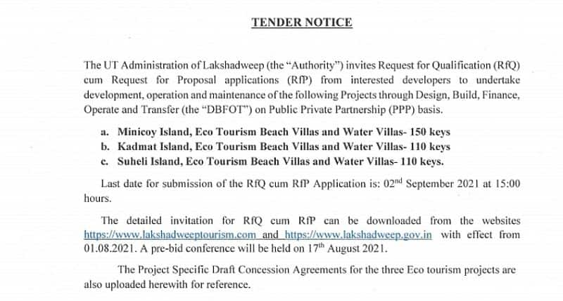 Lakshadweep administration issues RFP to build 370 five-star villas on island-VPN