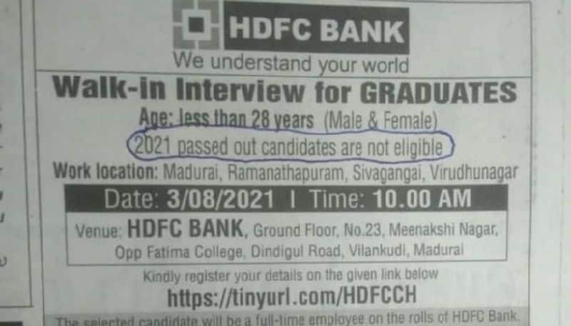 HDFC Bank corrects typo in walk in interview ad pod