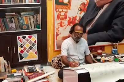 Renowned Phad artist from Kalyan Joshi is making Phad paintings on the themes of Covid 19 and Tokyo Olympics these days