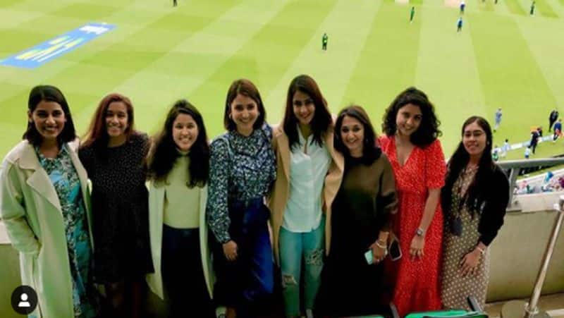 Anushka Sharma cheerfully poses with wives of Indian cricketers during India vs England match
