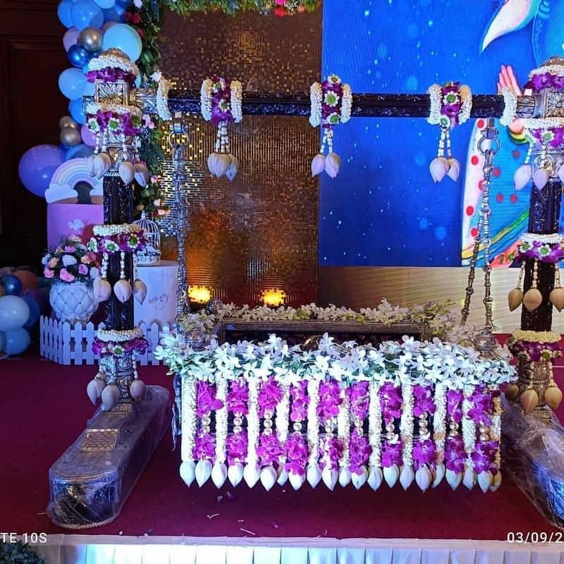 Sandalwood Meghana Raj Chiranjeevi sarja son Junior C naming ceremony reveals Sanskrit name vcs