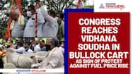 Congress reaches Vidhana Soudha in bullock cart as sign of protest against fuel price rise
