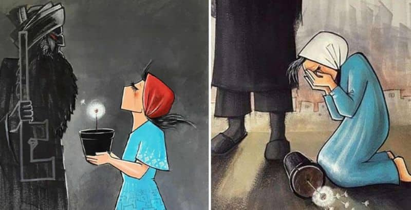 Shamsia Hassani street artist afghanistan her works depicts the life of women in afghanistan