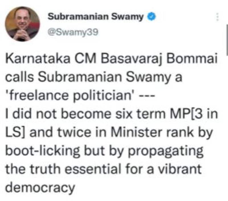MP Subramanian Swamy Hits Back CM Basavaraj Bommai over freelance politician Statement mah