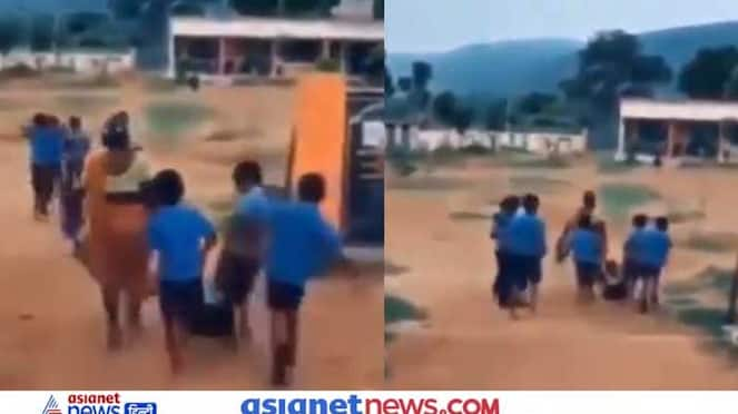 Mother forced the child to school, see funny photo