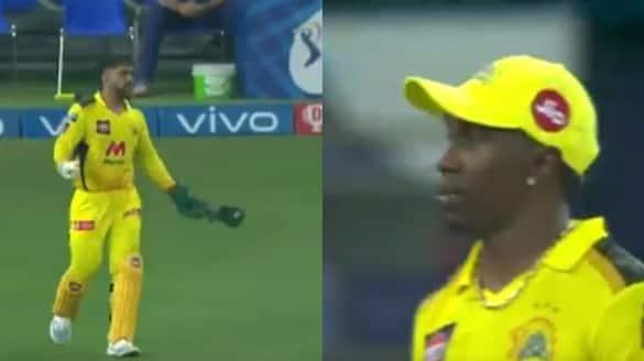 IPL 2021 CSK vs MI Watch MS Dhoni loses his cool at Dwayne Bravo