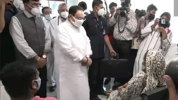BJP national president JP Nadda visits a vaccination center at AIIMS