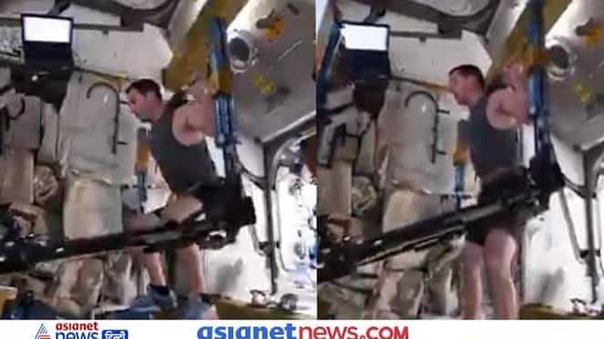 astronot did workout in the international space station, watch this video