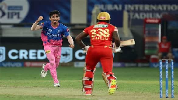IPL 2021 Watch Video Kartik Tyagi unbelievable last over vs Kings Punjab