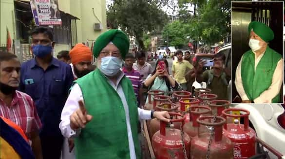 Hardeep Singh Puri conducts door to door campaign in Bhabanipur Assembly constituency in support of BJP candidate Priyanka Tibrewal