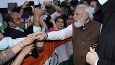 PM Narendra Modi gets warm welcome from Indian diaspora in Washington outside airport bmm