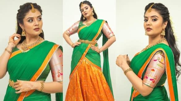 anchor sreemukhi stuns in half saree but hotness never misses
