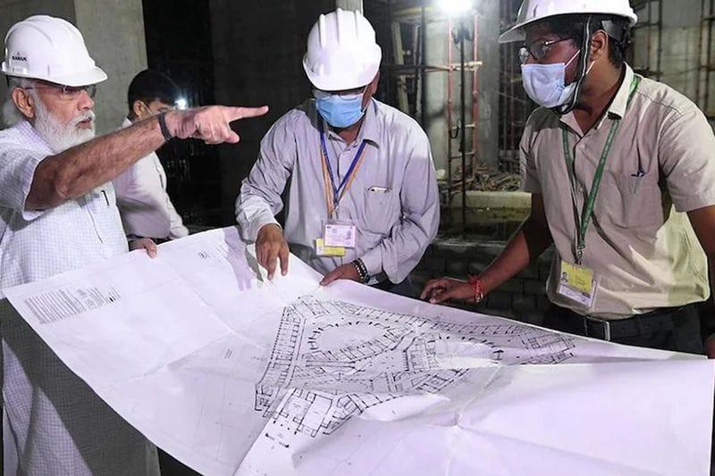 pm modi visits new parliament building construction site spends an hour bsm