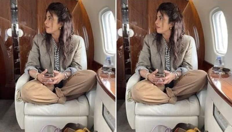 Priyanka Chopra sitting cross legged in private jet Candid photos goes viral BRD
