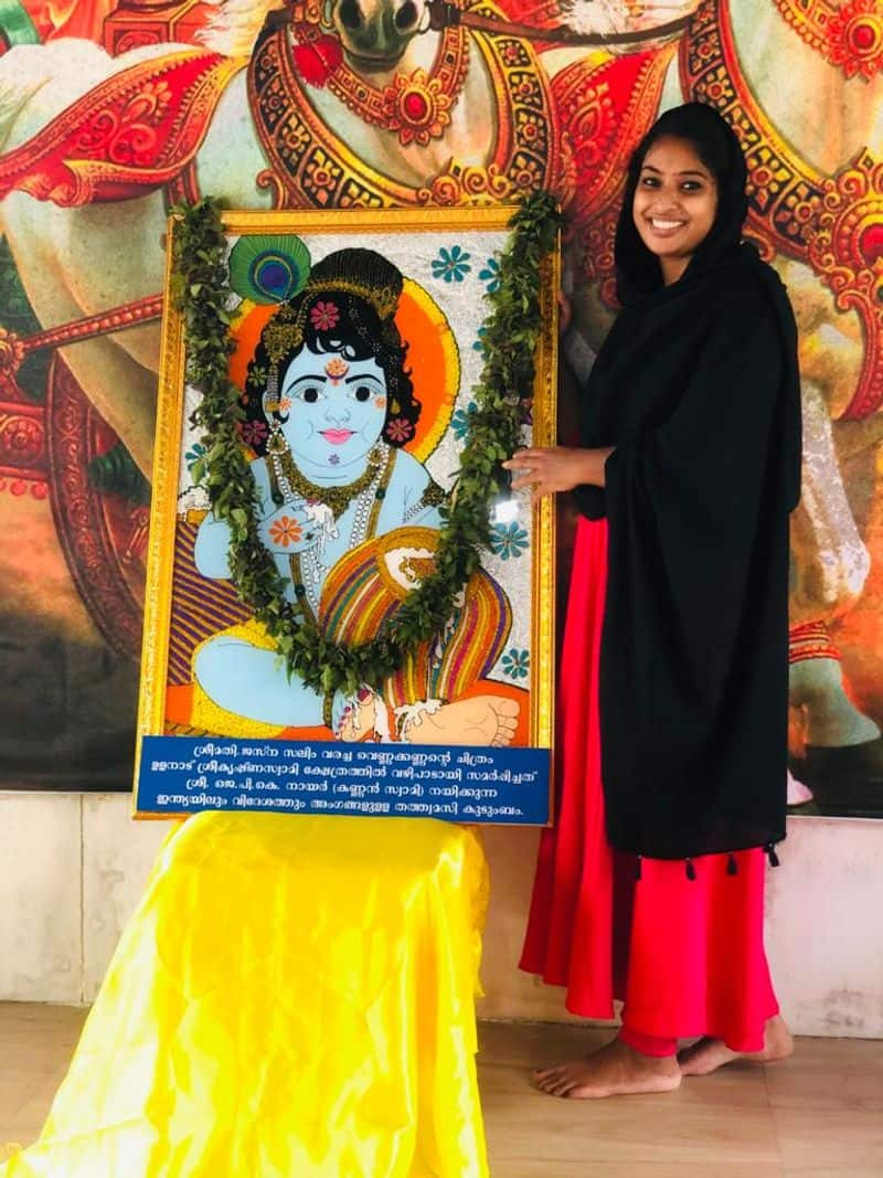 jasna salim present her painting before deity shares experience