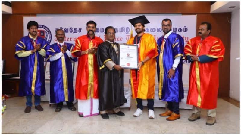 Actor Vijay Viswa gets doctorate