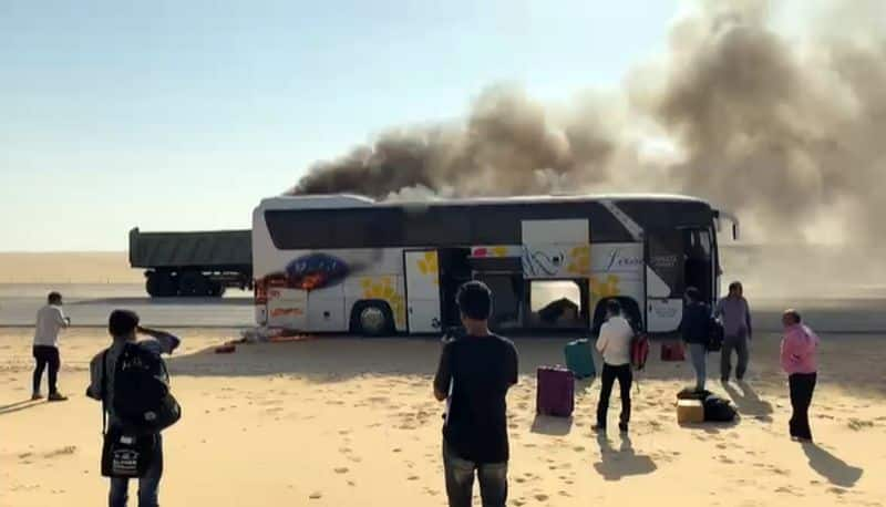 bus catches fire in Saudi Arabia while carrying expatriates including malayalis from UAE