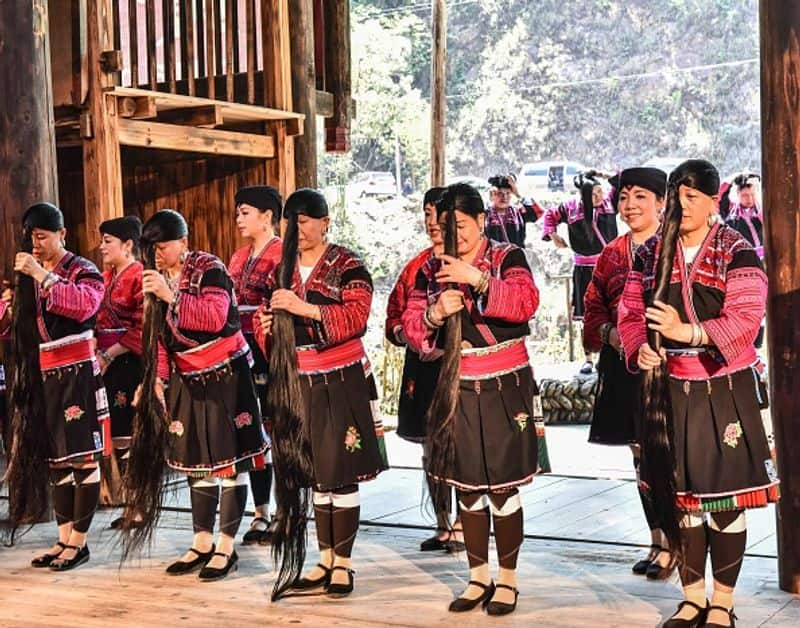 Huangluo Yao village with long haired women