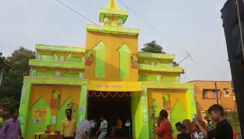 attraction of the theme is in the remote village, local artists have made wonderful Durga idols bpsb