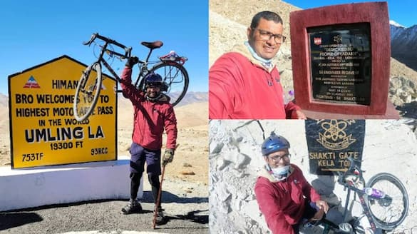 35 year old thrissur native Muhammed ashraf reaches Ladakh in cycle with leg which cant move