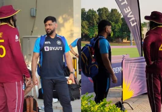 MS Dhoni meet Chris Gayle and Dwayne Bravo during ICC T20 World Cup 2021 spb