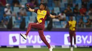 ICC T20 World Cup 2021 ENG vs WI Watch Akeal Hosein phenomenal return catch to out Liam Livingstone