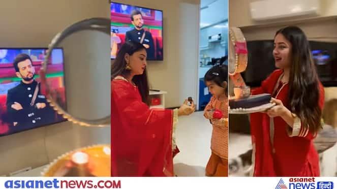 Karwa Chauth 2021, Bigg Boss 15 contestant Jay Bhanushali wife Mahhi Vij celebrated festival by seeing him on TV, see video
