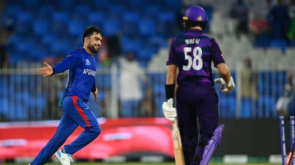 T20 Worldcup 2021: Afghanistan players rashid khan and mohammad nabhi emotional after their win match against scotland
