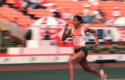 Track star P.T. Usha of India shown in photo dated 29 September 1986 streaking her way to pass in the women's 200-meter heats with a new Asian games record time of 23.68 secs.